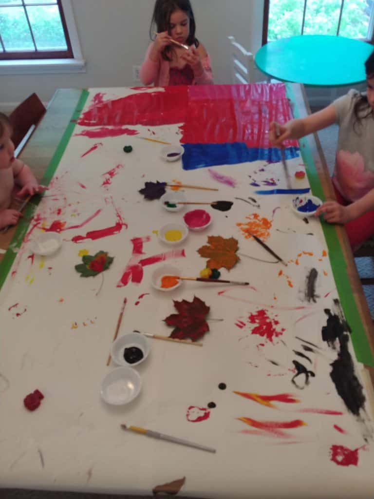 painting with kids giant roll of paper