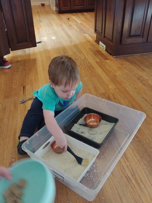 rice bin play for 1 year old learning
