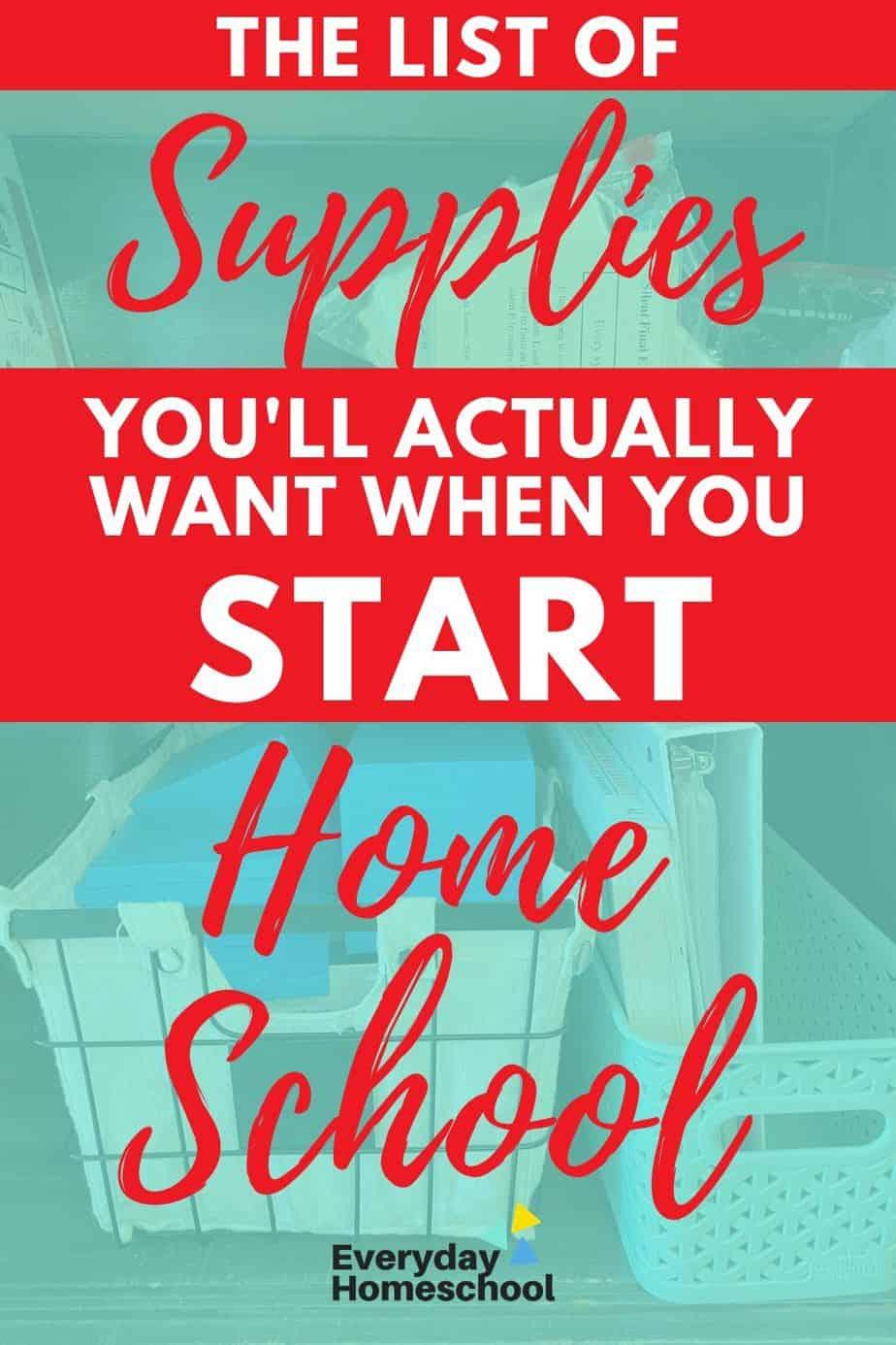 homeschooling supply list pin