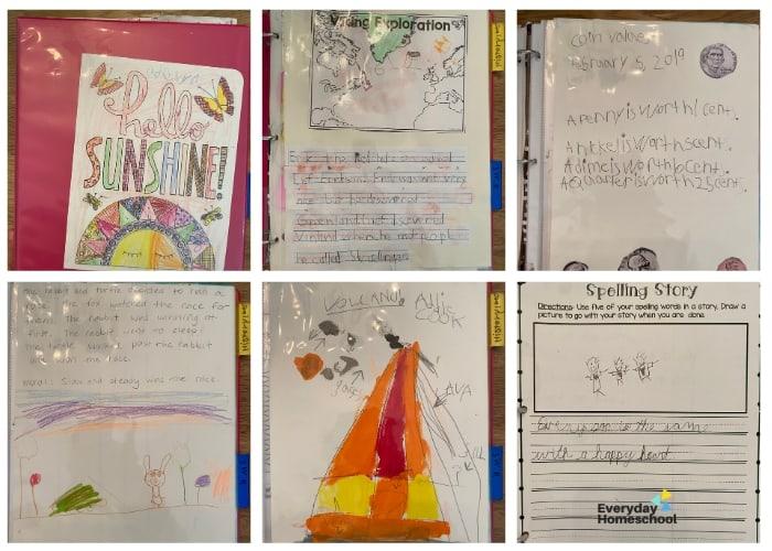 kindergarten homeschool portfolio example