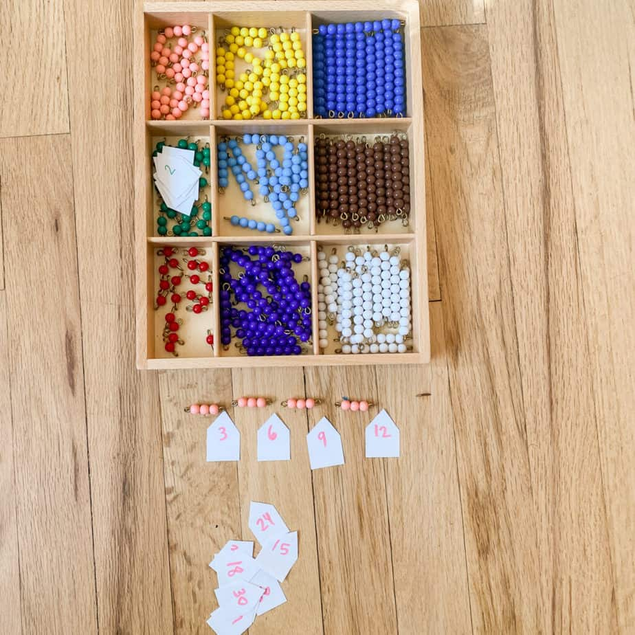 teaching skip counting with montessori beads