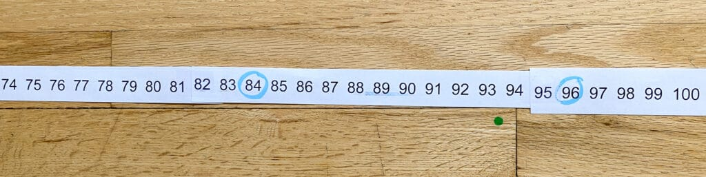 skip counting number strips