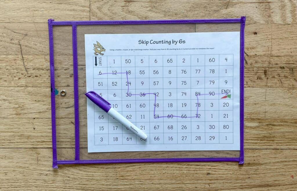 skip counting mazes dry erase